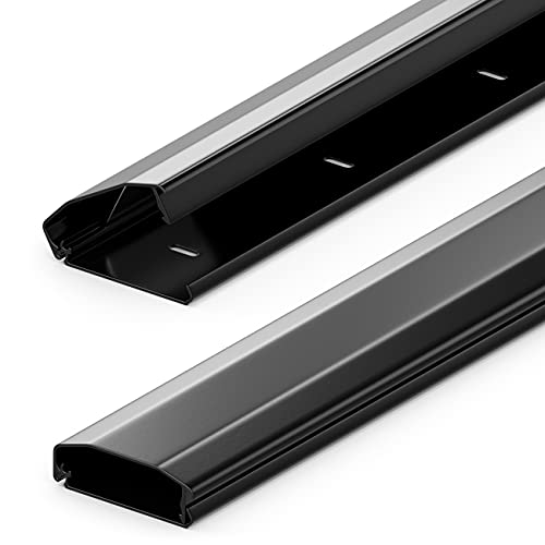 deleyCON Canalina Portacavi e Fili Universale con Innovativo Sistema di Chiusura Alluminio di Alta Qualità Lunghezza 50cm Larghezza 6cm Altezza 2cm - Nero