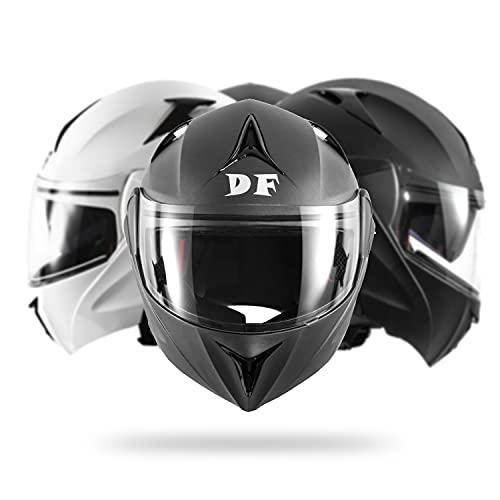 DIEFFE Casco Modulare Moto DF901 Casco Apribile Flip Frontale Sport Racing Touring Ventilazione Doppia Visiera Antigraffio Antiappannamento Parasole Omologato ECE 22 05 (Grigio Titanio, Large)