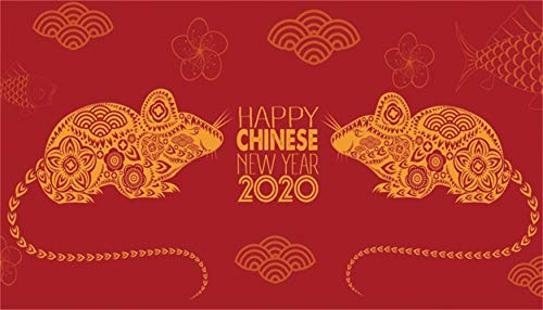 Leowefowa 20x12ft Happy Chinese New Year 2020 Backdrop for Photography Vinyl Chinese Style Mouse Paper-Cut Flowers Auspicious Clouds Fish Illustration Red Background New Year Picture Party Banner