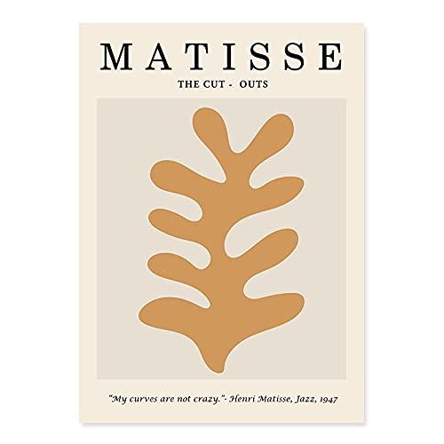 Silueta abstracta simple de moda, cartel floral beige de Matisse, decoración de impresión de arte de pared, pintura de lienzo sin marco A7 40x60cm