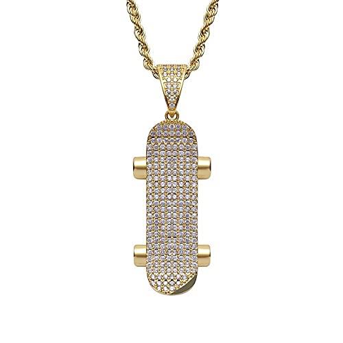 collar Hip Hop Rock Collar de rapero de oro rosa para hombre Micro Pave Sparkling Stone Skateboard Colgantes-gold_60cm
