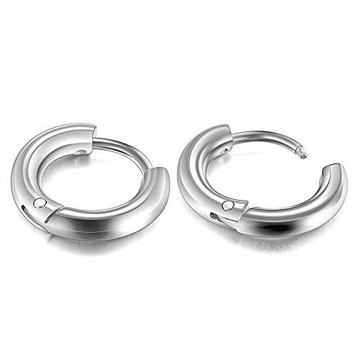 PiercingJ 2 Stücke 8-20mm Edelstahl Hoop Creolen Ohrringe Huggie Kreolen Ring Ohrringe Ohrpiercing Unisex Punk, Silber (Innendurchmesser: 8mm)