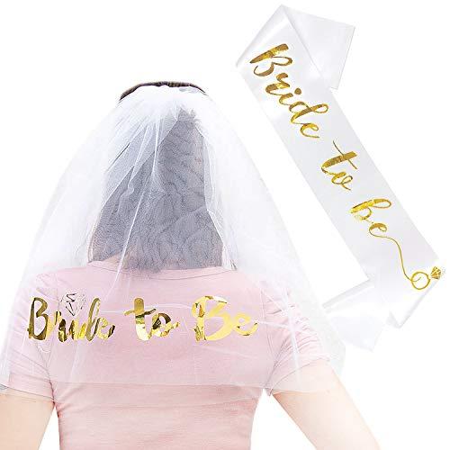 Oblique Unique® JGA Hochzeit Party Accessoire Set - Bride to Be Schärpe + Haarkamm mit Braut Schleier - Weiß Gold