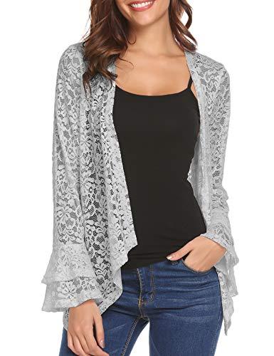 Dealwell Lace Shrug Cardigan for Women Flare Sleeve Open Front Crochet Bolero Jacket Cover Up (Grey, L)