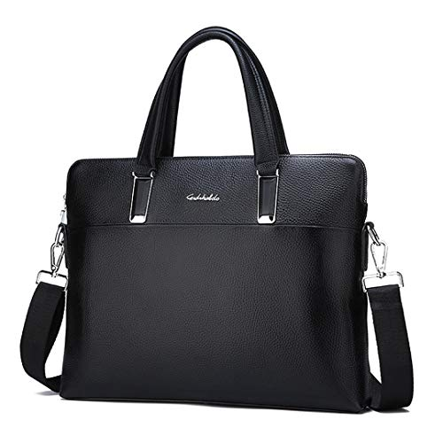 Pan&Bazstny Leather Men's Briefcase Handbag Horizontal Vertical Fashion Computer Shoulder Messenger Bag Horizontal W37H29D6 cm