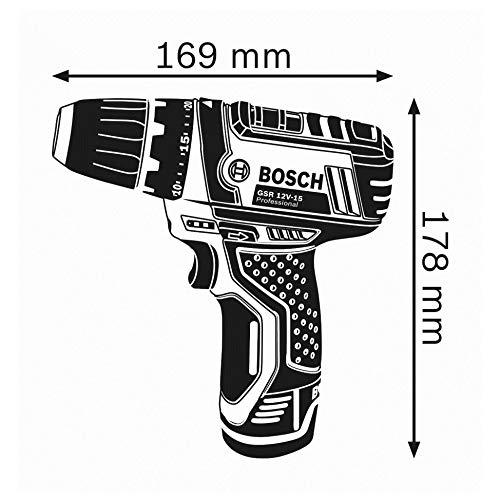 Bosch Professional Perceuse visseuse Sans Fil GSR 12V-15 (1 batterie 2,0Ah + 1 batterie 4,0 Ah, 12V,...