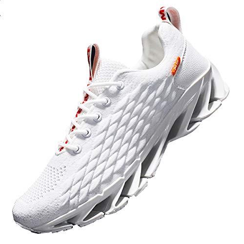Sportschuhe Sneakers Herren Damen Casual Laufschuhe Straßenlaufschuhe Turnschuhe Joggingschuhe Walkingschuhe Fitness (weiße Klinge, 39)