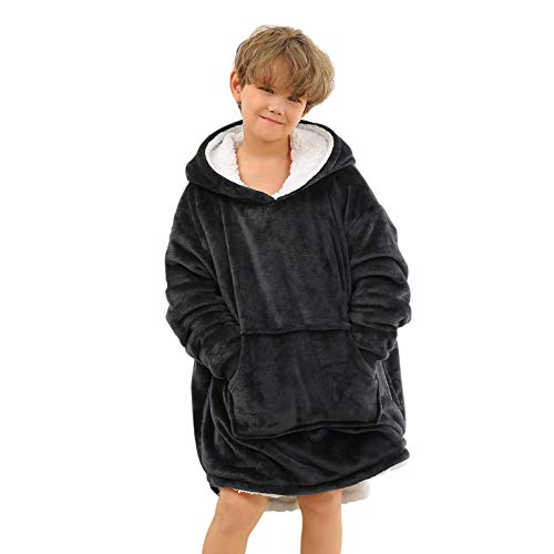 Topblan Oversized Hoodie Blanket for Boys and Girls, Wearable Blanket Sweatshirt with Super Warm Microfiber & Sherpa Hood, Thick Flannel Blanket with Sleeves and Giant Pocket, Black