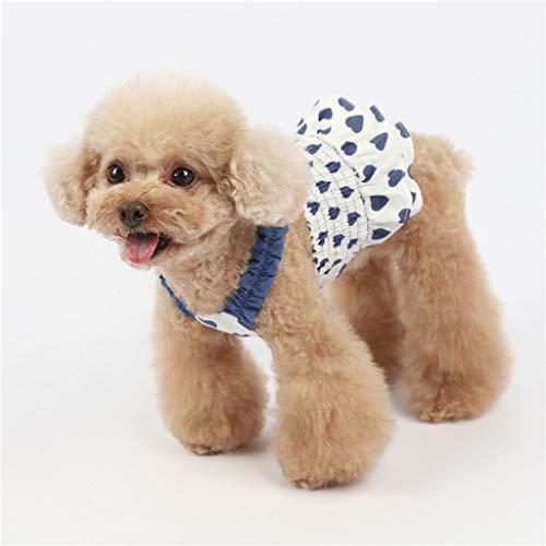 HDDFG Falda de tirantes para mascotas de primavera y verano, para perro pequeño, hiromi, bichón, titirón, gato, vestido sin mangas, color azul, talla mediana