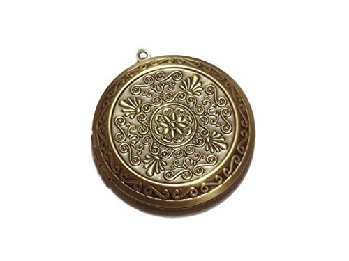 Old School Geekery Antiqued Bronze Ornate Design Photo Locket 45MM Diameter Locket Pendant for Jewelry Making – Antiqued Tone Metal Locket