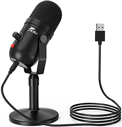Micrófono USB, NJSJ Condensador grabación micrófono con Silencio y Eco para Ordenador portátil, Mac Phone Studio, transmisión de transmisión y Juego Plug n Play en PC y Mac,Streaming,Podcasting