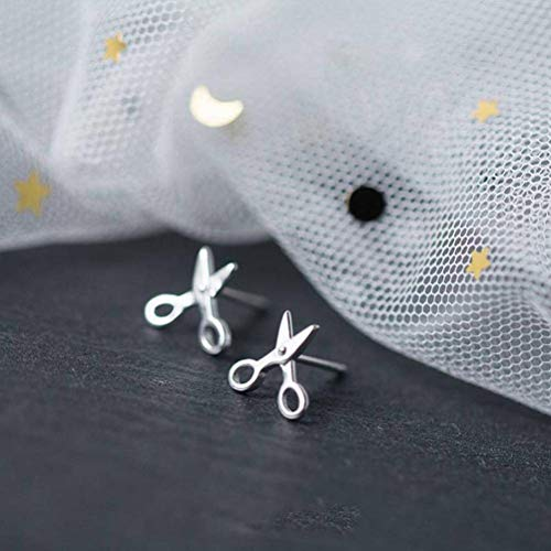 BinLZ Orecchini in Argento S925 Simpatici Piccoli Orecchini a Forma di Forbici Orecchini Femminili Orecchini Maschili, Argento 925 d