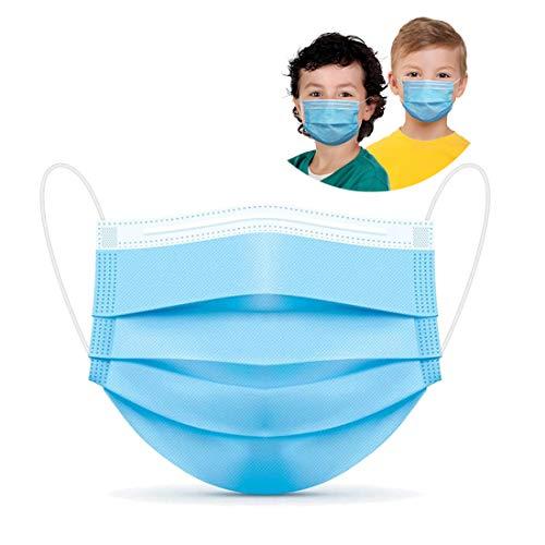 DXLOVER Kids Face Mask 50 Pcs Disposable 3 Ply Safety Face Mask-with Nanofiber Filter Lining-Ages 4-12 Children Face Mask, Blue