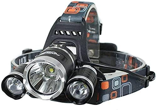 Luz de camping multifuncional, Faro LED RECARGABLE USB Aleación de aluminio 800lm Superlamps Súper brillantes Faro a prueba de agua 4 Modos Tapa Luz LED Faro Luz de cabeza Torch Torch LED Luz de segur