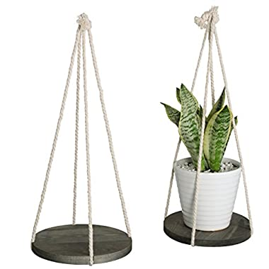 Set of 2 Dark Gray Wood 9-Inch Hanging Plant Pot Holders with Rope Hangers
