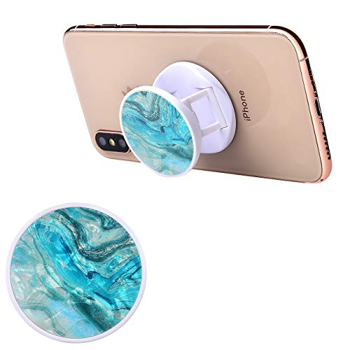 Portable Collapsible Cell Phone Stand Grip Marble Design Holder for Phones and Tablets (Pearlecent Aqua Marble)