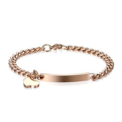 JewelryWe Schmuck Edelstahl Armkette mit Gravur Damenarmband Charmsarmband Herz- Anhänger Armband für Damen Mädchen Rosegold
