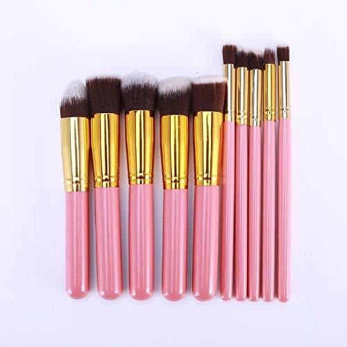 Outils de beauté multifonctions portables 10 pinceaux de maquillage débutants fondation pinceau ensemble ombre à paupières brosse douce poudre lâche brosse réparation capacité poudre or