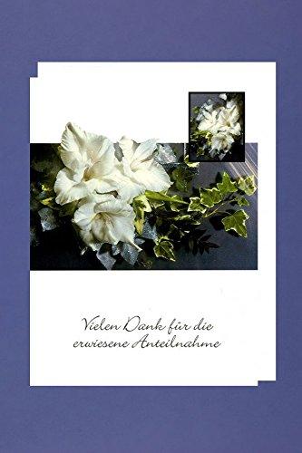 AvanCarte Trauer Danksagungen 5er Packung 5 Doppelkarten Blume Vielen Dank für die erwiesene Anteilnahme
