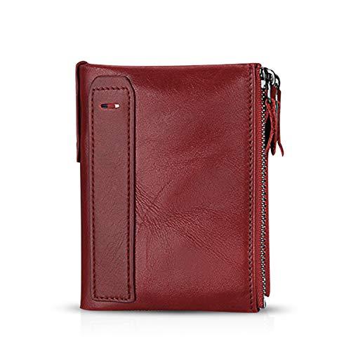FANDARE Portafoglio Uomo protezione anti-RFID Donna Portafogli Pelle, Portafoglio Pieghevole, con porta carte di credito, portamonete porta tessere Rosso