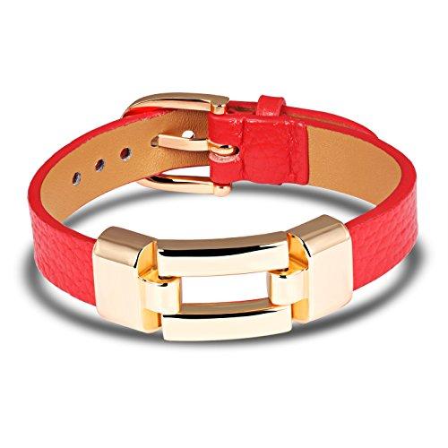 iLove EU Edelstahl Leder Armband Armreif Manschette Rot Silber Gürtel Schnalle Poliert Punk Rock Herren,Damen