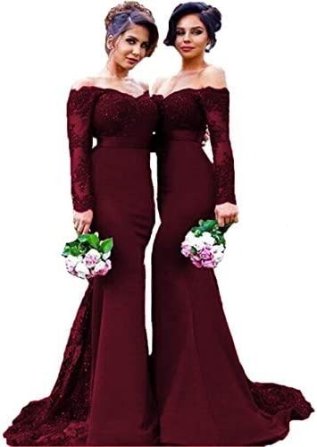 Women s Long Sleeves Off The Shoulder Formal Bridesmaid Dresses Lace Beads Evening Celebrity product image
