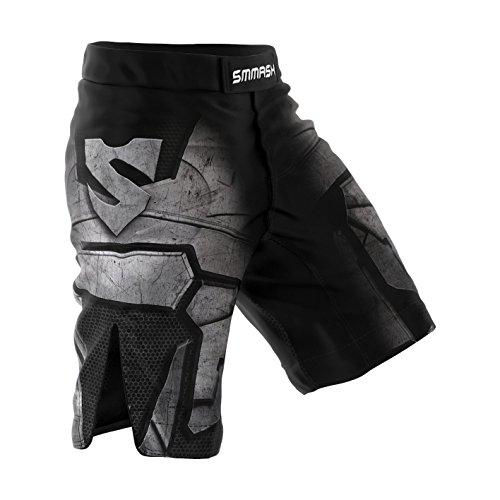 SMMASH Dark Knight Herren Sport Shorts für MMA Boxen Kampfsport, UFC, Training Sporthose Kurz für Männer, Crossfit Trainingshose Atmungsaktiv und Leicht, Hergestellt in der EU (L)