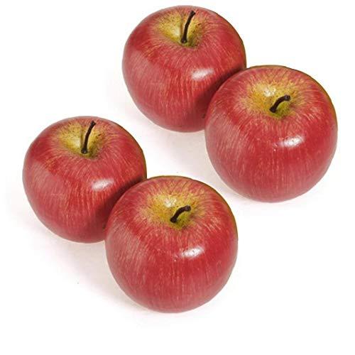 Canjerusof Frutas Manzanas Rojas 4pcs Artificial Decorativo Simulado De Apple De Plástico para El Partido del Hogar Decoración