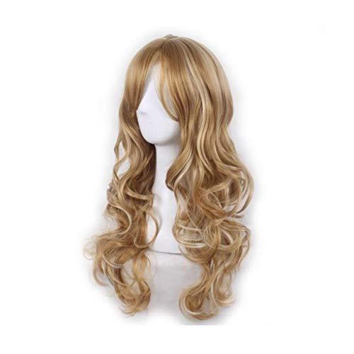 Perruque Lady Fluffy Longs Cheveux Frisés Big Wave Perruque Jaune Dorée (Color : B FOUR, Size : PIECE SET)