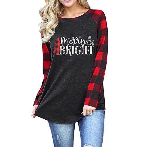 Merry and Bright Shirts Womens Christmas Tree Plaid Raglan Long Sleve Tees Letter Print Baseball T Shirt Tops Grey