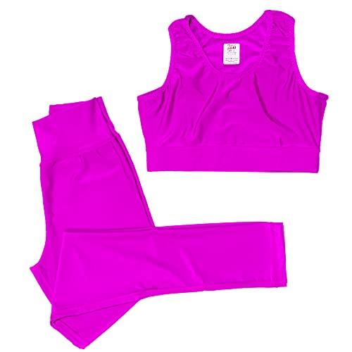 2Fit Sport Legging e Reggiseno Active Wear per Ragazze Abiti Allenamento Set Palestra - Jogging - Yoga - Tuta elastica da allenamento (Rosa, XLarge)