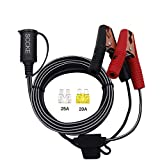 SCCKE 14.8FT/4.5m 14AWG 20A 12V 24V Female Car Cigarette Lighter Socket to Battery Alligator Crocodile Clips Connector, Car Battery Clamp-on Extension Charge Cable with 20A Fuse