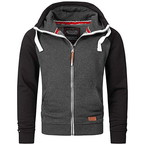 A. Salvarini Herren Sweatjacke Kapuzenpullover Jacke Kapuze Hoodie Sweater AS191 [AS-191-D.Grau-Schwarz-Gr.M]