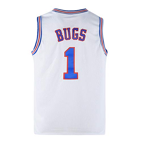 Ki Cut Men's Bugs 1 Space Movie Jersey Basketball Jersey White Size M