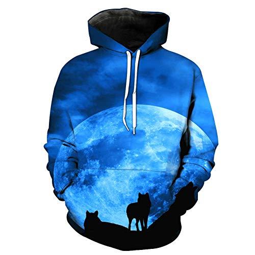 Sweat-Shirt_Unisexe Nouveau Imprimé en 3D Encapuchonné ArrêTez-Vous Sauteur Cordon De Serrage VêTements De Sport Grand Couple Porter pour Homme Et Femme Lune Bleue Loup 2XL 3XL 4XL 5XL 6XL