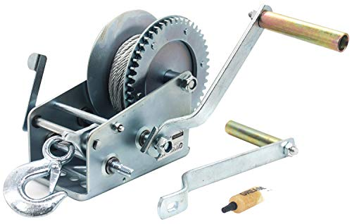 AC-DK Manual Operation 3500 lb Hand Gear Winch Including Gear Grease and Two Crank Handles with 25 FT Cable Steel Wire Rope for Pulling Boats Trailers and Trucks