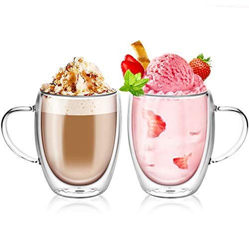 Topsky 2X 350ml Doppelwandig Gläser,Mit Griff,Doppelwandige kaffeegläser,Latte Macchiato Gläser,roße Doppelwandige Gläser aus Borosilikatglas,Teegläser,Kaffeegläser