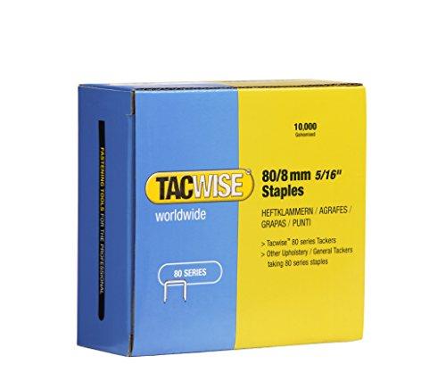 Tacwise 0382 Grapas galvanizadas de Tipo 80/8 mm, Caja de 10.000 Unidades, Metalizado, 80/8 mm