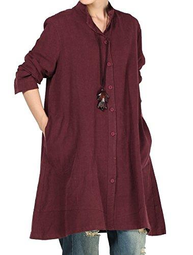 Vogstyle Damen Herbst Baumwolle Leinen Voller vorderer Knopf Blouse Kleid mit Taschen Style 1 Large Red