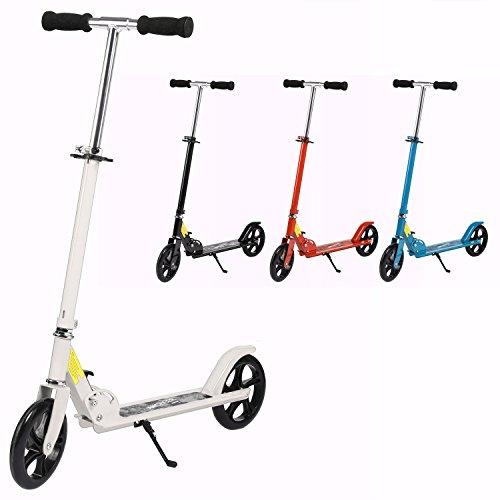 AMDirect Scooter Adulte Trottinette de Ville 200mm Roues Roller Pliable et Réglable en Hauteur City-Roller Scooter pour les Enfants de 12 ans+ jusqu'à 100 kg (blanc)