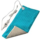 """XL Heating Pad for Back Pain w/Auto Off   Ultra-Fast Heating   Extra Large Dry Electric Heat Therapy Wrap   Plush Hot Pad for Back, Neck, Shoulders, Abdomen, Arm, Legs, More (12"""" x 24"""") (Blue)"""