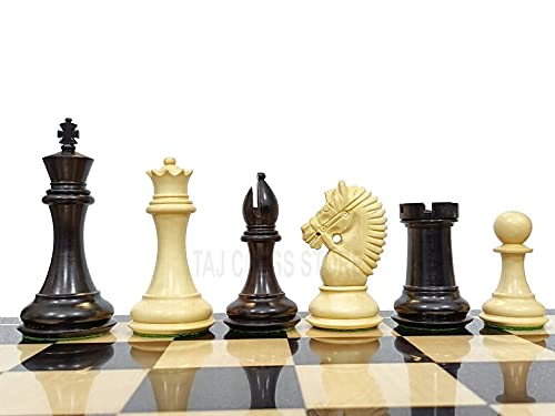 Desconocido Generic Piezas de ajedrez American Knight Staunton - Juego de ajedrez de ébano de Doble Peso Americano Staunton de 4 '  Juego de ajedrez de Lujo   Tienda de ajedrez Taj