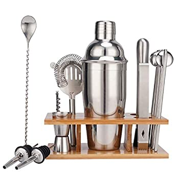 Stainless Steel Cocktail Shaker Bar Tools Set CMQC Professional Wine Shakers Bartender Kit with Stand Strainer Bar Spoon Jigger Pour Stopper Ice Clip Bottle Opener Stirrer  Silvery