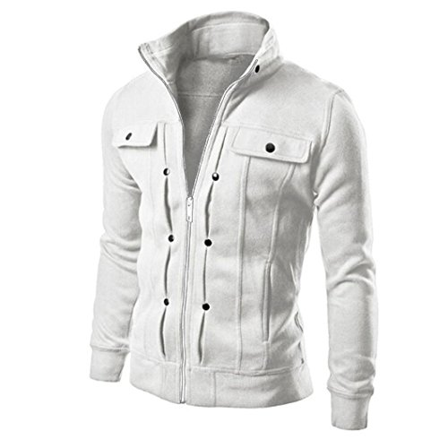 Cardigan Coat Fashion Jacket Mens Slim Designed Lapel Sweatshirt White