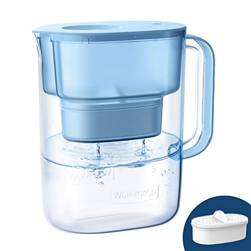 Waterdrop Lucid 10-Cup NSF Certified Water Filter Pitcher, Long-Lasting (200 gallons), 5X Times Lifetime Filtration Jug, Reduces Lead, Fluoride, Chlorine and More, BPA Free, Blue