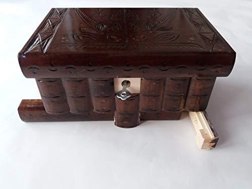 Caja puzzle nuevo grande café marrón caja de joyas talladas caja mágica misterio caja de madera rompecabezas caja secreta trinket complicado cajón de madera caja escondida