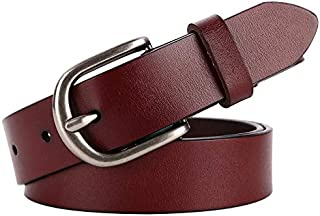 Happy-L Classic Retro Ladies Jeans Dress Belt Leather Belt Simple Solid Color Pin Buckle Belt Fashion Wild Casual Belt (Color : Red Brown)