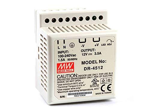 Meanwell DR-45-12 Fuente alimentación conmutada carril DIN, Vin= 85-264 Vac,Vdc = 120-370 V, 1 salida 12V 42W