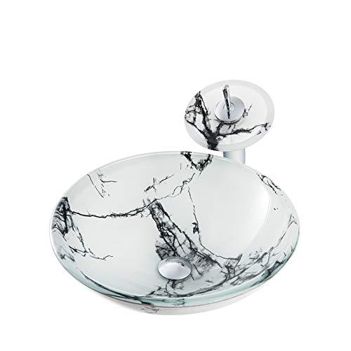 Lavabo de Cristal con Grifo de Cascada, Blanco Lavabo de Vidrio Templado Jaspeado Lavabo sobre Instalación en Encimera Lavabo sobre para Baño, 420mm*420mm*145mm*12mm,Black Pattern