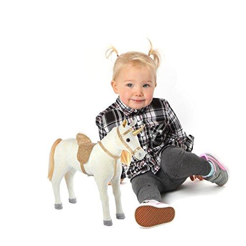 Pink Papaya Plüschpferd 40 cm - Stehpferd Selina – Spielfigur Kuschel-Pferd mit abnehmbarem Sattel und Zaumzeug, Spielzeug Pferd in Puppen Große zum Spielen Träumen Toys